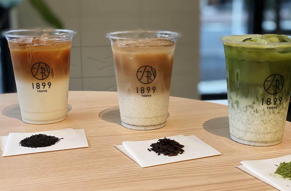 茶バリエ(プロ)が一煎ずつたてる抹茶ラテ、ほうじ茶ラテ、和紅茶ラテ