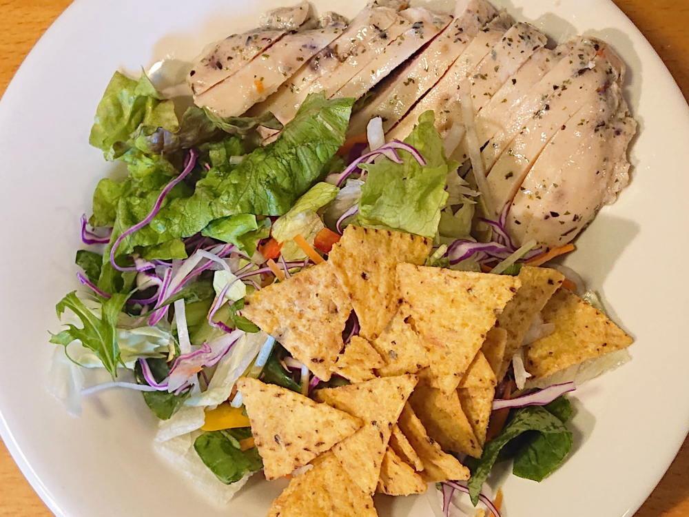 食べ方いろいろトルティーヤチップス うす塩味 アレンジレシピ サラダチキン