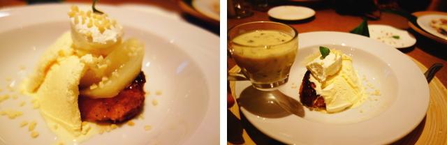 黒トリュフのホワイトソース仕立て洋ナシコンポート添え フレンチトースト