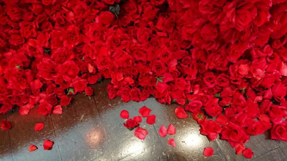 4万本のバラに包まれた深紅の空間