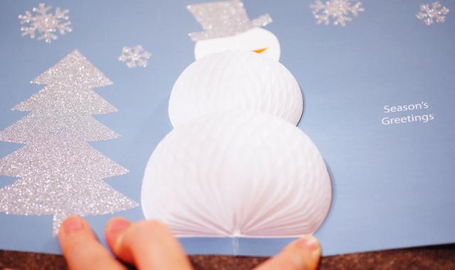 雪だるま 飛び出す クリスマスカード